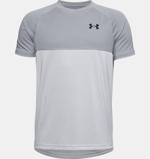 Jongensshirt UA Tech™ Colorblock met korte mouwen