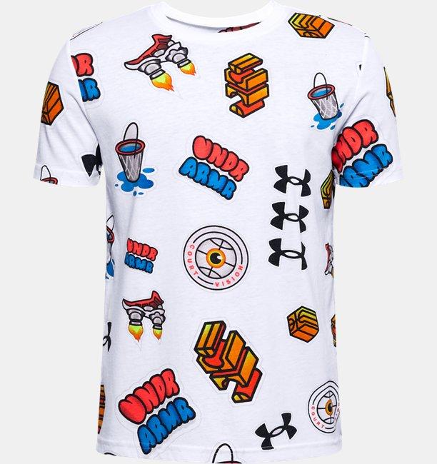 T-shirt UA Hoops Sticker da ragazzo