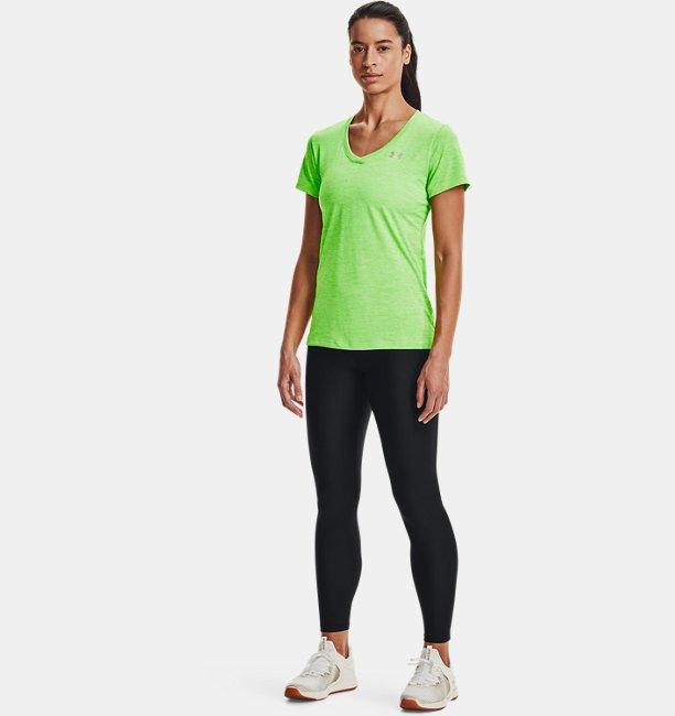 Under Armour Damen UA Tech™ Oberteil mit Twist-Effekt und V-Ausschnitt Grün MD