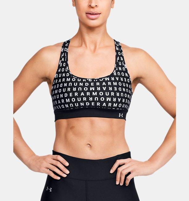 Under Armour Womens UA Armour Mid Crossback Print Mash Up Sports Bra Black XS