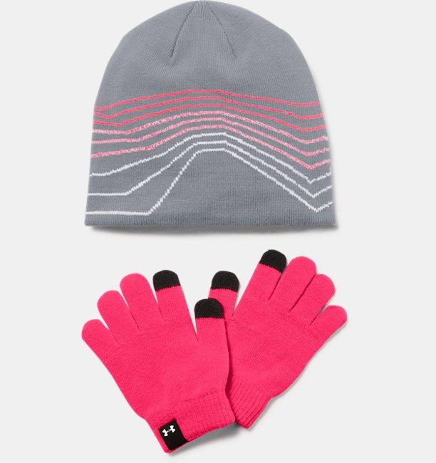 Girls UA Beanie & Glove Combo Set