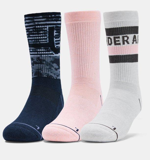 Womens UA Phenom Novelty Crew – 3-Pack Socks