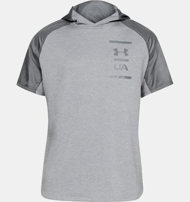 Erkek UA MK-1 Havlu Kumaş Kısa Kollu Kapüşonlu Üst