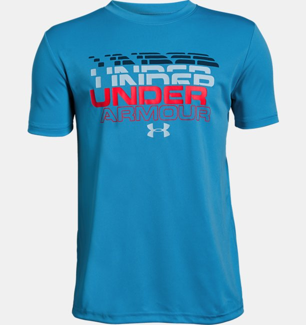 Boys UA Stepped Wordmark Short Sleeve