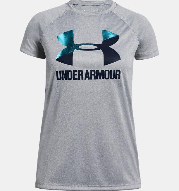 Mädchen UA Big Logo T-Shirt, einfarbig