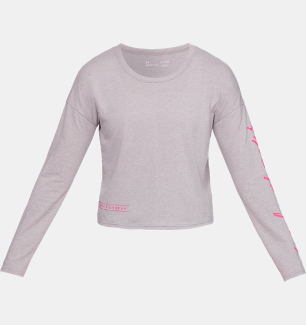 Womens UA Sleeve Script Graphic Crop Long Sleeve
