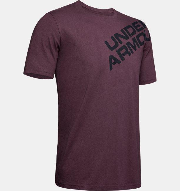 Polera manga corta con gráfico de la marca UA en el hombro para hombre