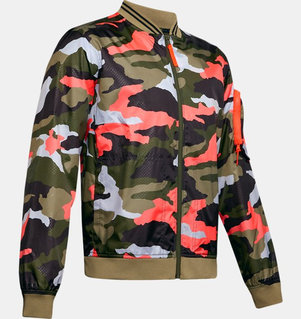 Mens UA Unstoppable Camo Bomber Jacket