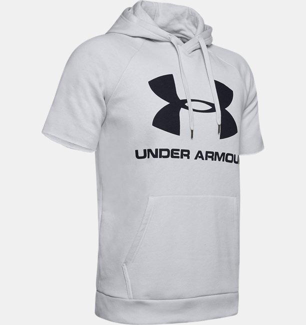 Mens UA Rival Fleece Logo Short Sleeve Hoodie