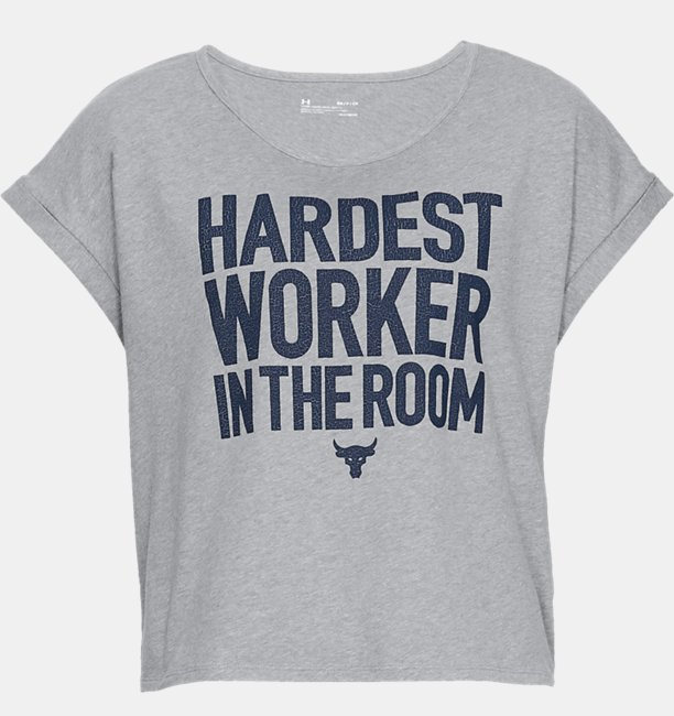 Womens Project Rock Hardest Worker Cropped Short Sleeve