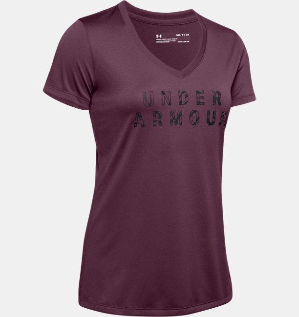 UA Tech™ Short Sleeve V-Neck Graphic untuk Wanita