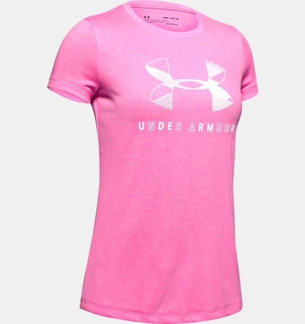 Mädchen UA Twist Kurzarm-Oberteil mit großem Logo