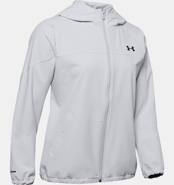 Womens UA Woven Branded Full Zip Hoodie