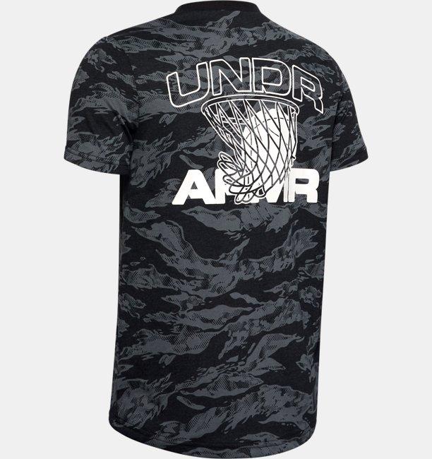 Jungen UA AOP Basketball-T-Shirt mit Camouflagemuster