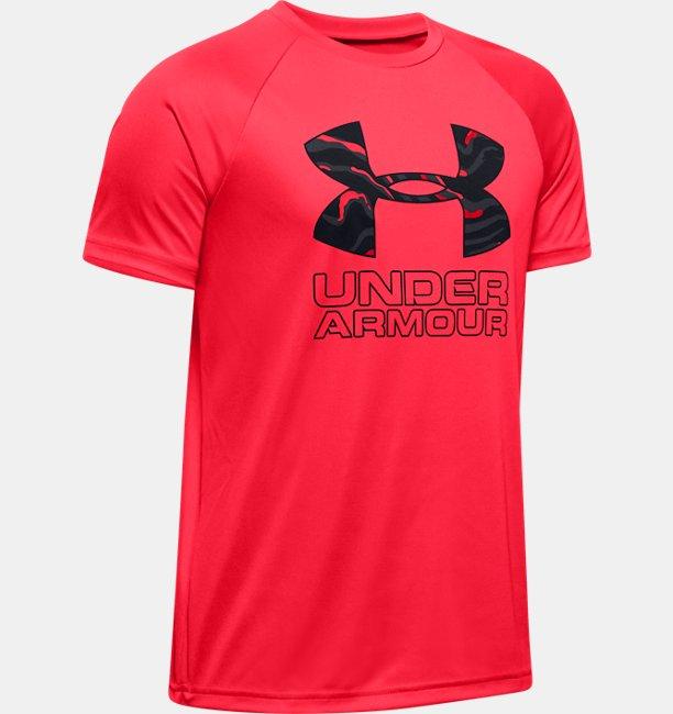 Jungen UA Tech™ Hybrid Print Fill T-Shirt mit Logo