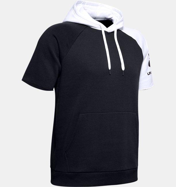 Mens UA Rival Fleece Colorblock Short Sleeve Hoodie