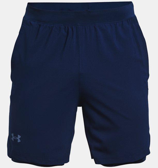 Mens UA Launch Run 2-in-1 Print Shorts