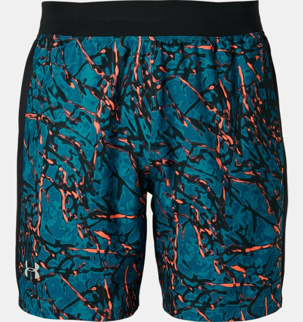 UA STRETCH WOVEN SPEEDPOCKET PRINTED 7INCH SHORT