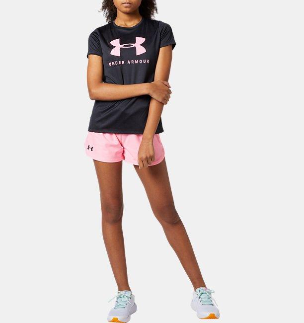 UAソリッド ビッグロゴ テック ショートスリーブ Tシャツ(トレーニング/GIRLS)