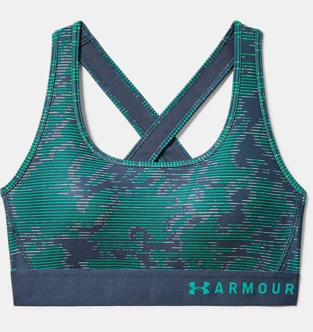 Kadın Armour® Mid Çapraz Sırtlı Baskılı Spor Sütyeni