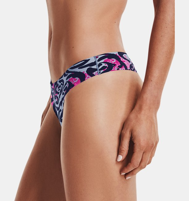 Womens UA Pure Stretch Thong Underwear Printed 3-Pack