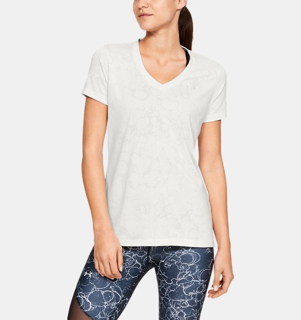Womens UA Tech™ Short Sleeve V-Neck Marble Jacquard