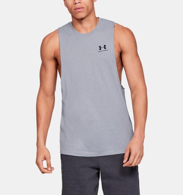 남성 UA 스포츠스타일 레프트 체스트 컷오프 티셔츠