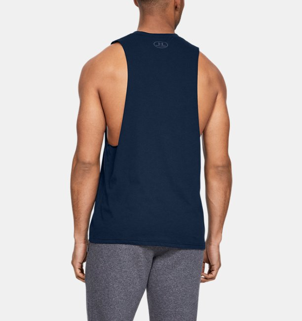 Mens UA Sportstyle Left Chest Cut-Off T-Shirt