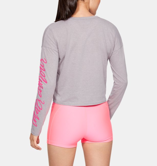 Womens UA Sleeve Script Graphic Crop Long Sleeve