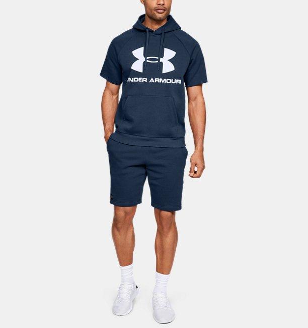 Mens UA Rival Fleece Logo Short-Sleeve Hoodie