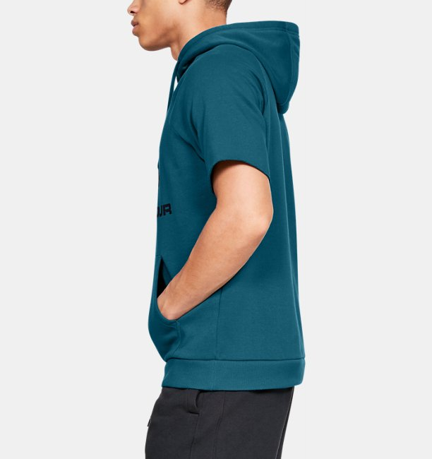 Mens UA Rival Fleece Logo Short-Sleeve Hoodie