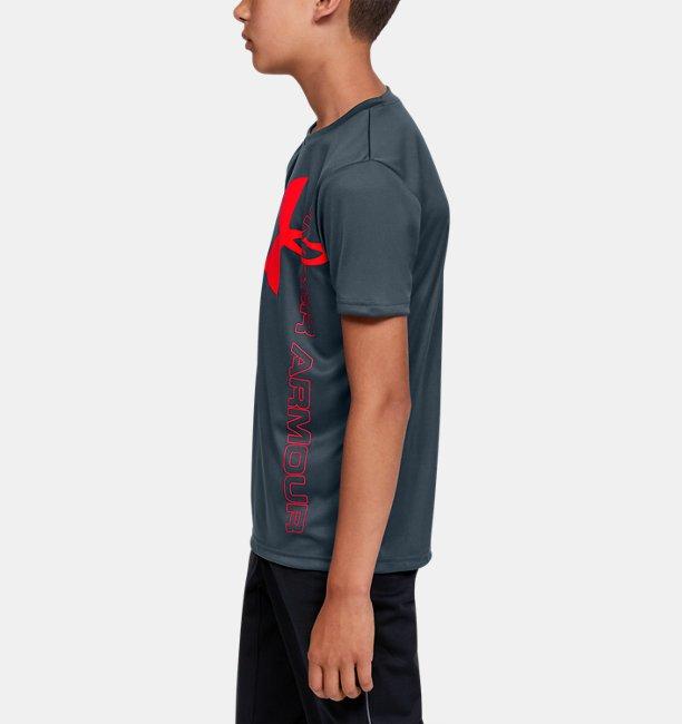 Polera manga corta UA Split Logo Hybrid para niño