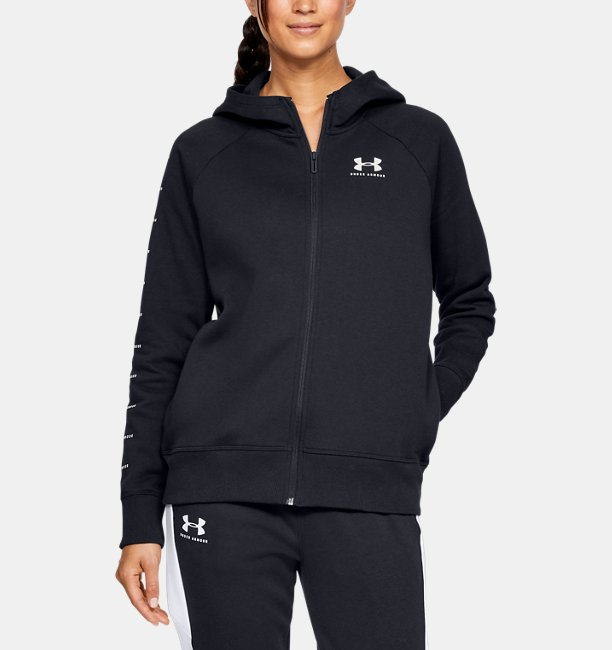 Womens UA Rival Fleece Sportstyle LC Sleeve Graphic Full Zip
