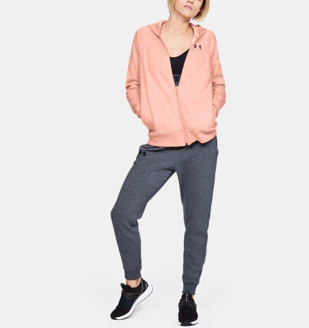 Womens UA Rival Fleece Sportstyle LC Sleeve Graphic Full Zip