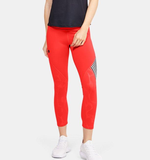 Damen UA RUSH™ Embossed Shine Crop-Hose mit Grafik