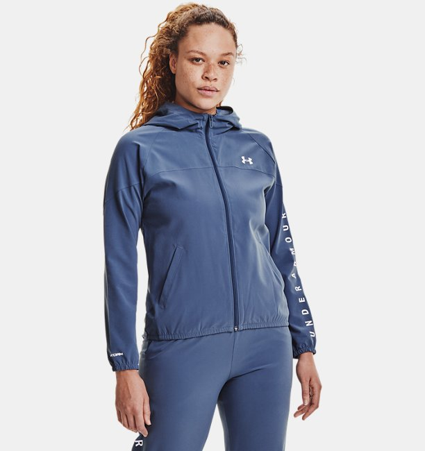 Sweat à capuche UA Woven Branded Full Zip pour femme