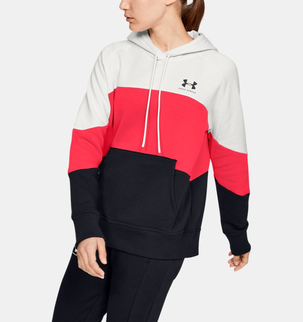 Dameshoodie UA Rival Fleece Color Block
