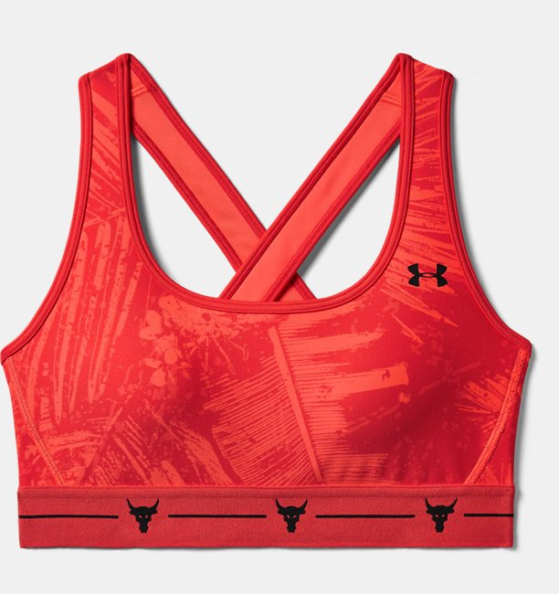 Womens Project Rock Armour Mid Crossback Printed Sports Bra