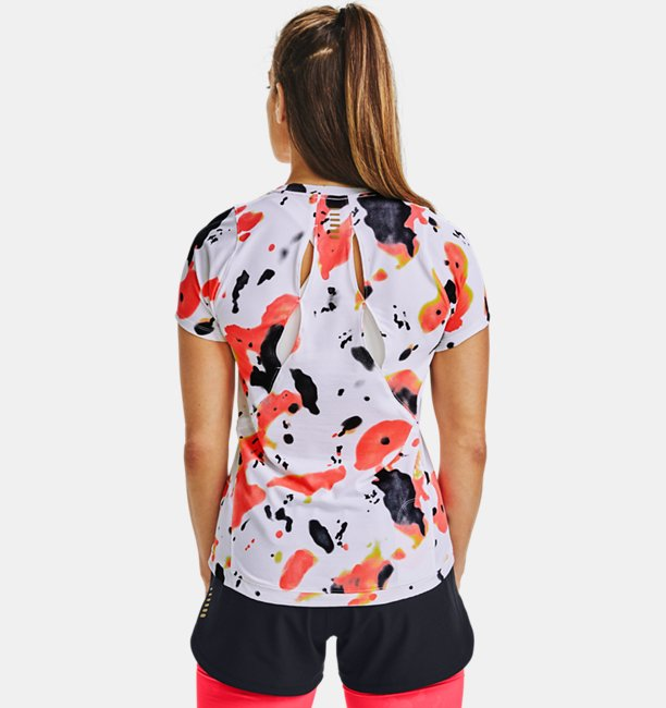 Womens UA Qualifier Run Iso-Chill Upstream Camo Short Sleeve