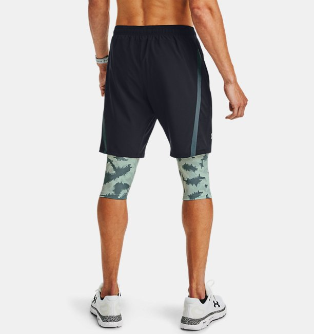 Mens UA Launch SW Long 2-in-1 Printed Shorts