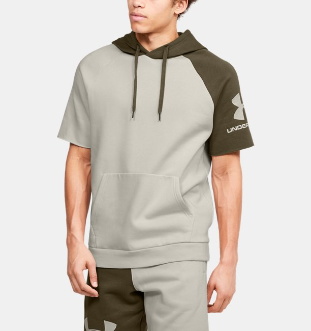 Mens UA Rival Fleece Colorblock Short Sleeve Hoodie