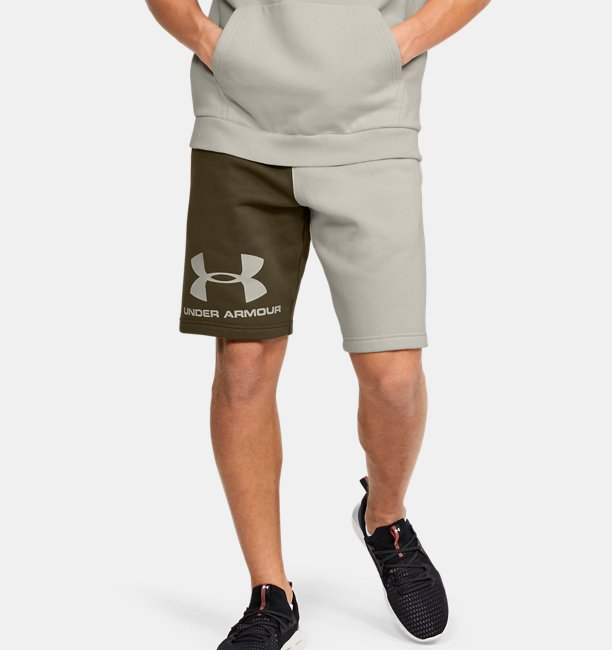 Mens UA Rival Fleece Colorblock Shorts