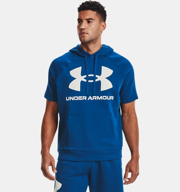 Mens UA Rival Fleece Big Logo Short Sleeve Hoodie