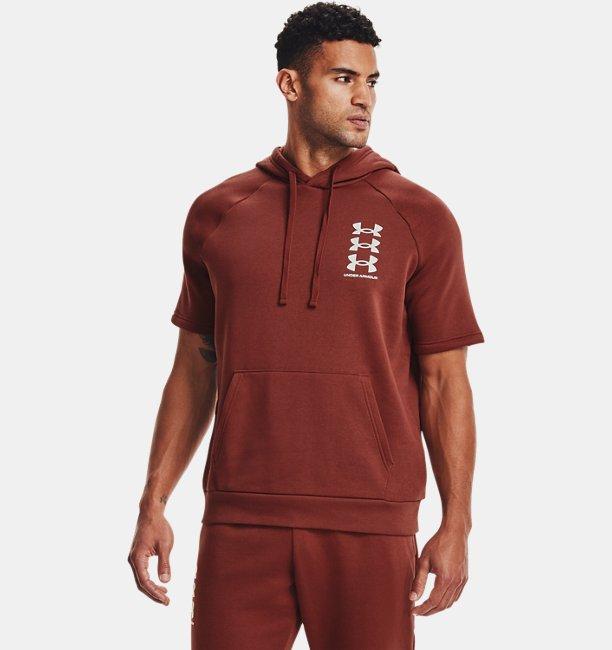 Mens UA Rival Fleece Multilogo Short Sleeve Hoodie