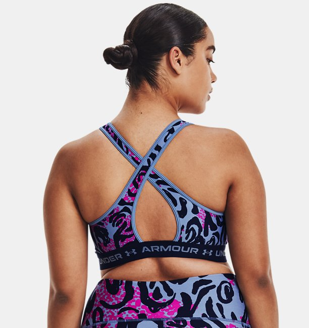 Womens Armour® Mid Crossback Printed Sports Bra