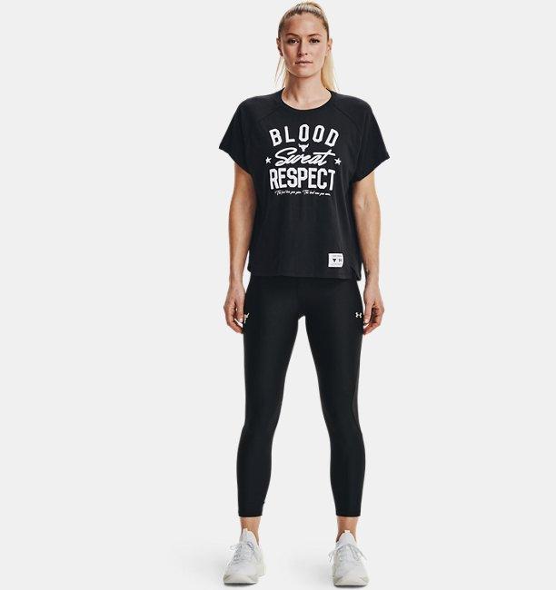 UA PROJECT ROCK ショートスリーブ 〈BLOOD SWEAT RESPECT〉(トレーニング/WOMEN)
