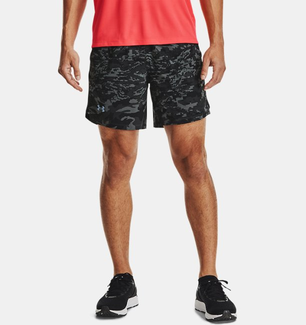 Mens UA Launch Run 7 Print Shorts