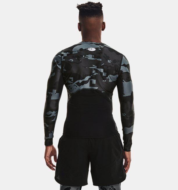 Erkek UA Iso-Chill Compression Printed Uzun Kollu