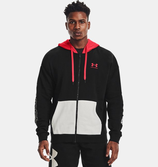 Mens UA Rival Fleece Colorblock Full Zip Hoodie