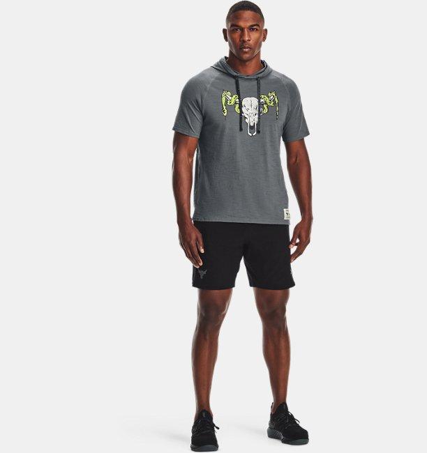 UA PROJECT ROCK チャージドコットン ショートスリーブ フーディー(トレーニング/MEN)